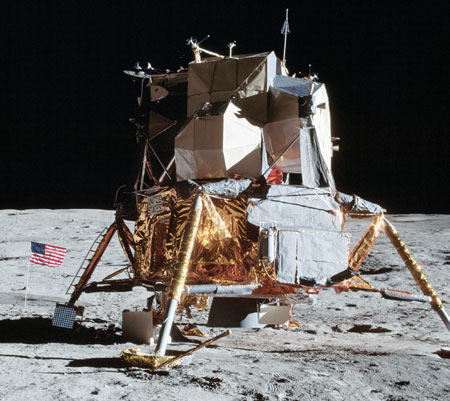 The lunar module's total weight was 36,000 lbs.—about the same weight as a Bluebird school bus fully loaded with students!
