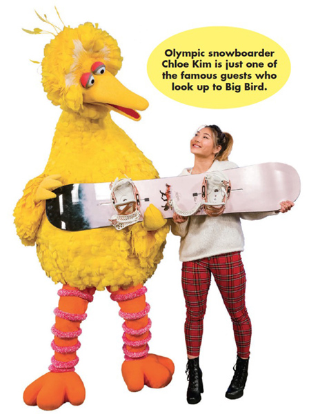 Olympic snowboarder Chloe Kim is just one of the famous guests who look up to Big Bird.