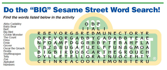 "Do the ""BIG"" Sesame Street Word Search!"