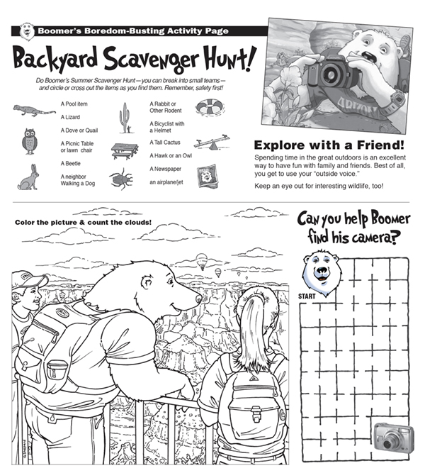 Bonus Activity Page: Backyard Scavenger Hunt and Coloring Page