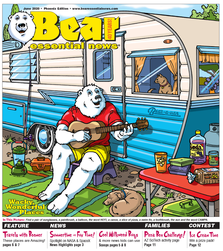 Retro Boomer playing guitar in front of camper.