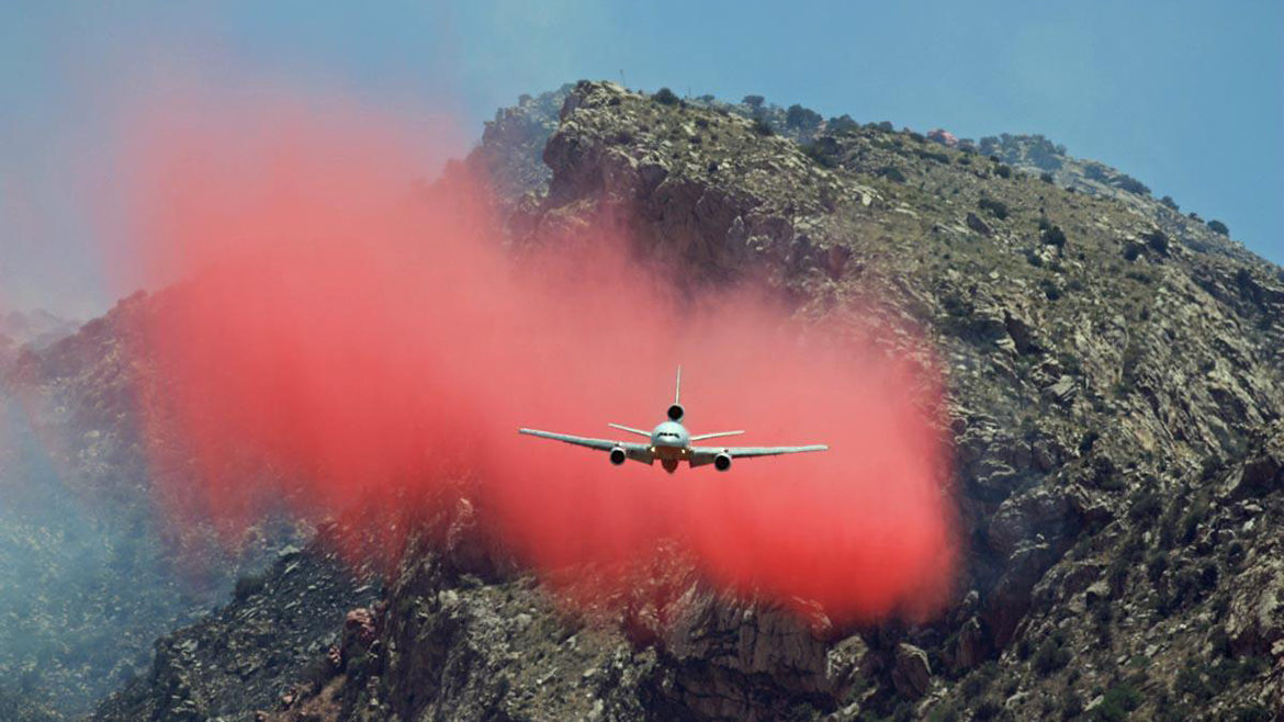 Retardant dumped by plane. USWS photo by Tim Peterson