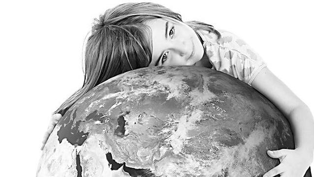 Girl Hugging the World