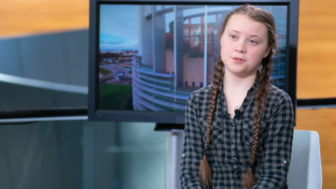 Greta Thunberg speaking at  the European  Parliament in  April of 2019