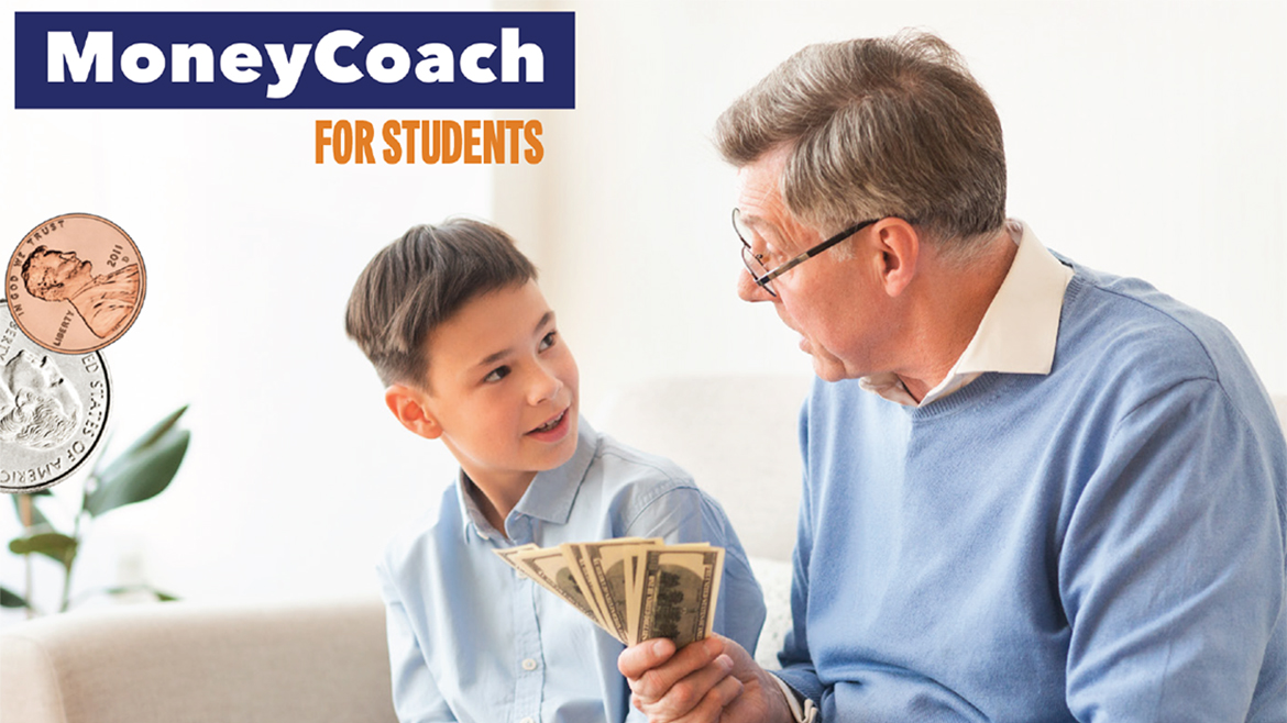 Adult speaking to child about money, fanning out cash bills.
