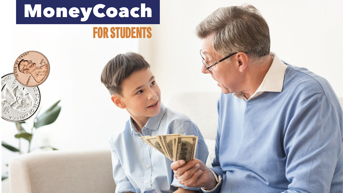 A man holding bills in hand discussing money with kid.