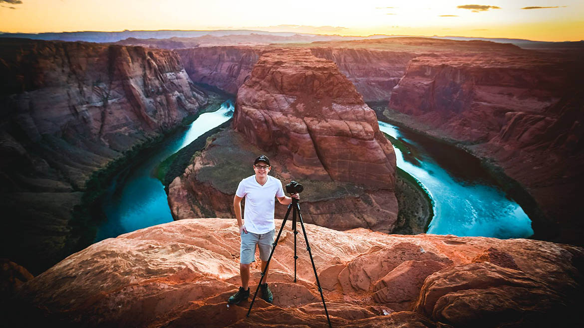 Astro photographer Sean Parker is photographed at Horseshoe Bend near Page, Arizona