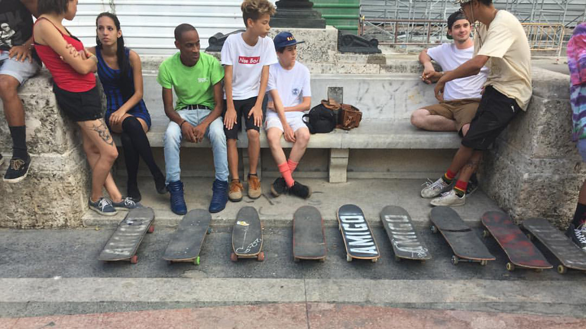 Cuba Skate connects US Skateboarding enthusiasts with Cuban skateboarders. Photo by Genêt Klasek
