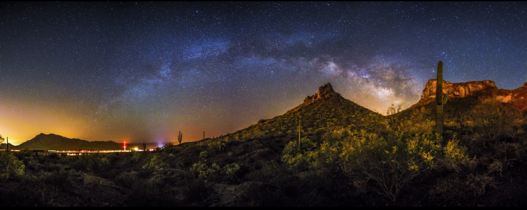 Panoramic photo of the Stars over Picacho Peak.