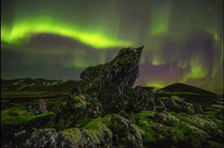 Aurora Borealis over Iceland. Parker photographed the Northern Lights in 2016.