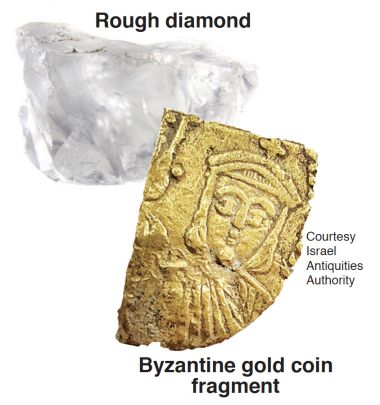 2 stones pictured: Rough diamond and byzantine gold coin fragment