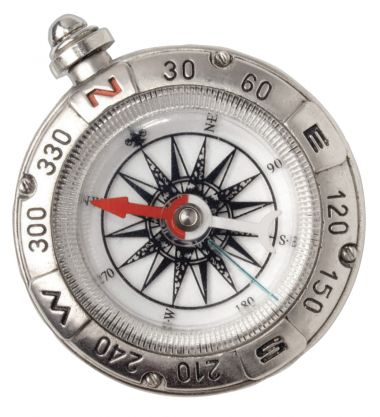 silver compass, arrow pointing northwest