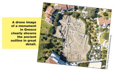 A drone image of a monument in Greece clearly showns the ancient outline in great detail.