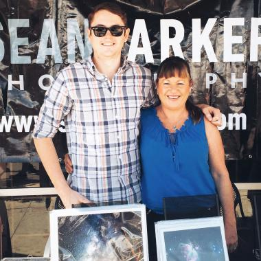 Sean Parker with his mom at the Fourth Avenue Street Fair in Tucson, Arizona.