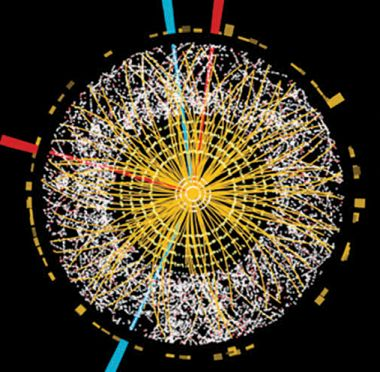 A particle collision that might have produced a Higgs particle in the Large Hadron Collider.