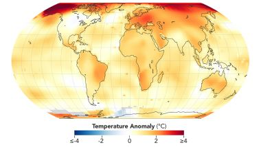 Geographical Heat Map showing Temperature Anomaly -4 degree thru 4 degree Celcius.