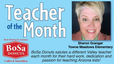 Teacher of the Month Bosa Donuts Header. Sharon Granger recognized.