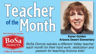 Teacher of the Month Bosa Donuts Header. Karen Golden regonized.