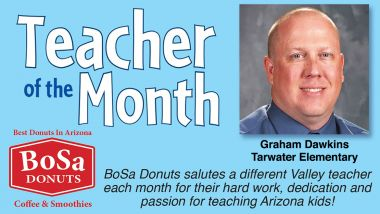 Teacher of the Month Bosa Donuts Header. Graham Dawkins recognized.
