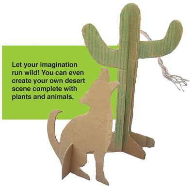 cardboard cutout of coyote and saguaro cactus