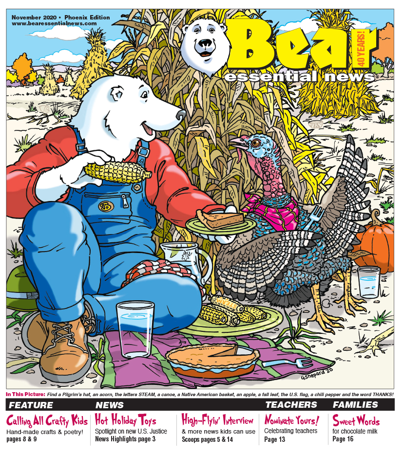 Boomer sitting in corn field sharing pumpkin pie with a turkey November 2020 cover.