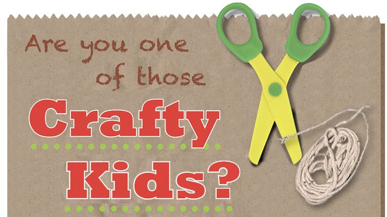 Are you one of those Crafty Kids? Header with photo of scissors, bag and string.