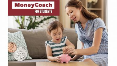 Parent putting coins with child inside a piggy bank.