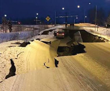 Extreme damage to the roadway in Anchorage, Alaska.